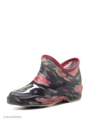 Резиновые сапоги BRIS. Цвет: черный, розовый