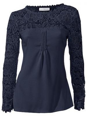 Кружевная блуза SINGH S. MADAN. Цвет: цвет морской волны