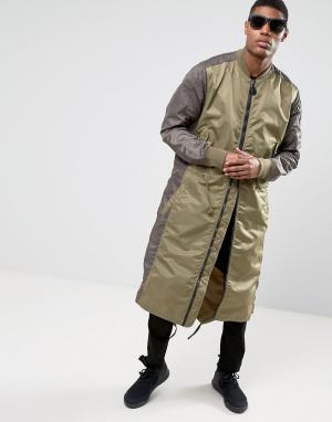 Maharishi Удлиненная куртка с асимметричным краем MA1. Цвет: зеленый