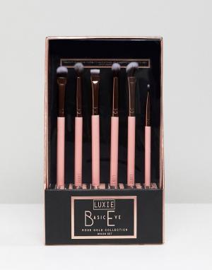 Luxie Набор из 6 кистей цвета розового золота для макияжа глаз. Цвет: бесцветный