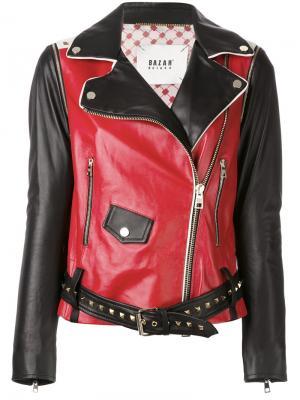 Байкерская куртка с контрастной отделкой Bazar Deluxe. Цвет: чёрный