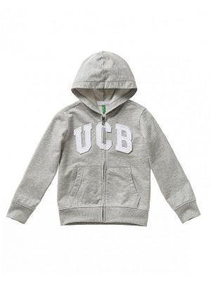 Худи United Colors of Benetton. Цвет: серый, серо-зеленый, серебристый