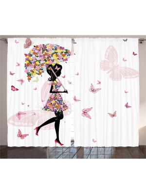Комплект фотоштор для гостиной Цветочная фея под зонтиком, плотность ткани 175 г/кв.м, 290*265 см Magic Lady. Цвет: черный,розовый,белый