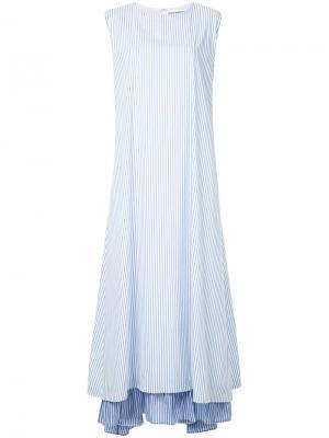 Полосатое расклешенное платье N Duo. Цвет: синий