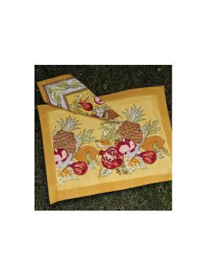 Салфетка Tutti frutti yellow-red /Все фрукты желтый-красный/ 50*50см, 100% хлопок Mas d'Ousvan. Цвет: желтый, зеленый, красный, оранжевый