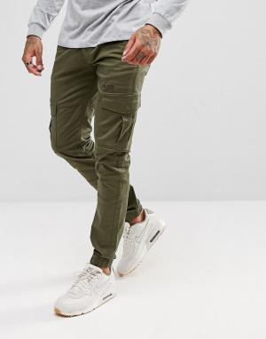 Voi Jeans Суженные книзу джоггеры карго с кромкой манжетом. Цвет: зеленый