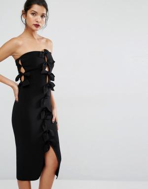 Bec & Bridge Платье-футляр с узелками и лепестками. Цвет: черный