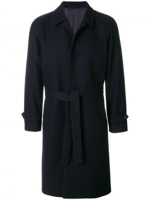 Пальто с поясом Hevo. Цвет: синий