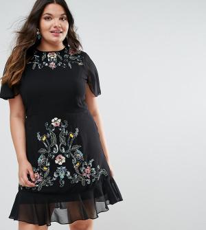 Frock and Frill Plus Платье с вышивкой и баской по краю. Цвет: черный