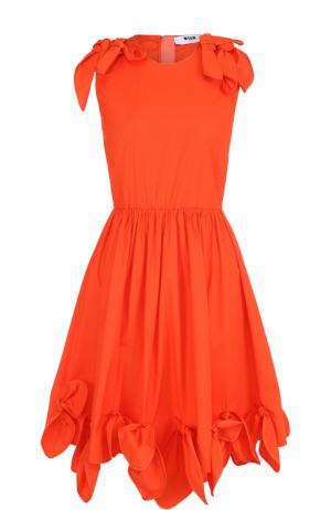 Приталенное платье без рукавов с оборками MSGM. Цвет: оранжевый