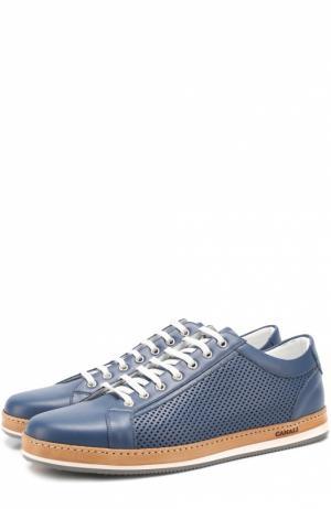 Кожаные кеды на шнуровке с перфорацией Canali. Цвет: темно-синий