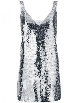 Мини-платье с пайетками Dondup. Цвет: металлический