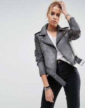 ASOS Кожаная байкерская куртка выбеленного цвета. Цвет: серый