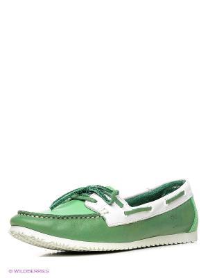 Топсайдеры El Tempo. Цвет: зеленый, белый
