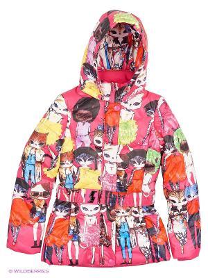 Куртка для девочки DONILO. Цвет: малиновый