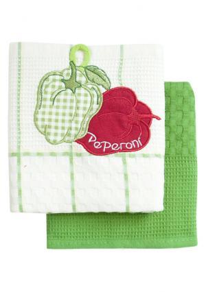 Набор вафельных полотенец (2 шт.) BONITA. Цвет: белый (белый, зеленый)