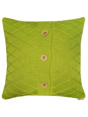 Вязаный чехол для подушки Olive rhomb Altali. Цвет: оливковый