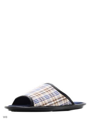 Тапочки мужские из текстильных материалов. BRIS. Цвет: синий, серо-коричневый