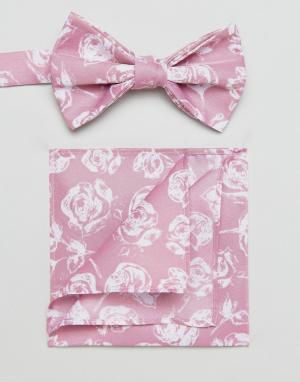 ASOS Розовый галстук-бабочка и платок для нагрудного кармана с цветочным пр. Цвет: розовый