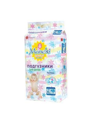 Подгузники детские одноразовые Maneki. Цвет: белый