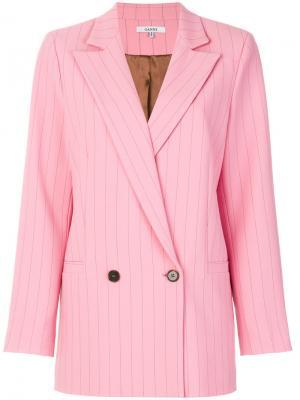 Двубортный пиджак в тонкую полоску Ganni. Цвет: розовый и фиолетовый