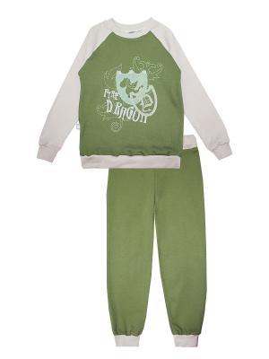 Пижама КОТМАРКОТ. Цвет: бежевый, зеленый