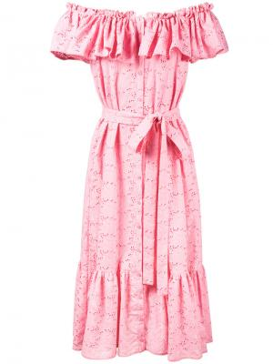 Платье Mira с открытыми плечами Lisa Marie Fernandez. Цвет: розовый и фиолетовый