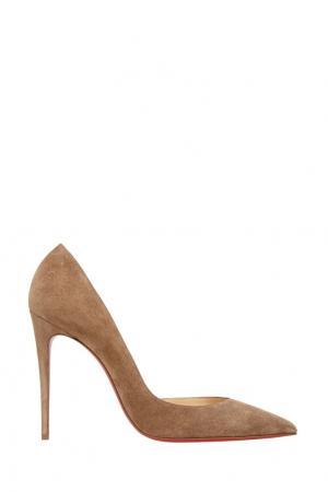 Замшевые туфли Iriza 100 Christian Louboutin. Цвет: бежевый