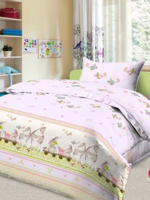 Комплект в кроватку Ясли BG-40, бязь Letto. Цвет: розовый, желтый