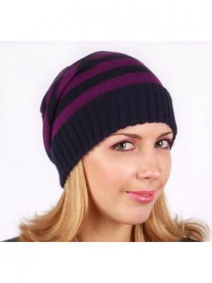 Полосатая шапка Непростые вещи. Цвет: индиго, темно-фиолетовый