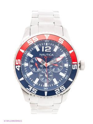 Часы наручные Nautica. Цвет: серебристый, красный, синий