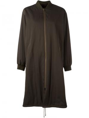 Пальто с манжетами в рубчик Army Yves Salomon. Цвет: зелёный