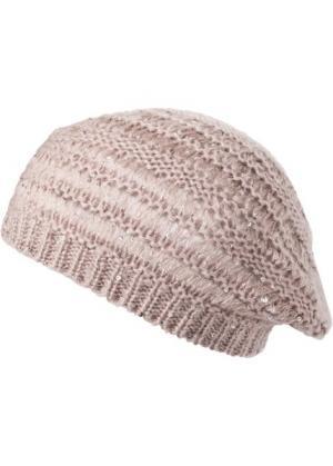 Берет вязаный (розовый/серо-коричневый) bonprix. Цвет: розовый/серо-коричневый