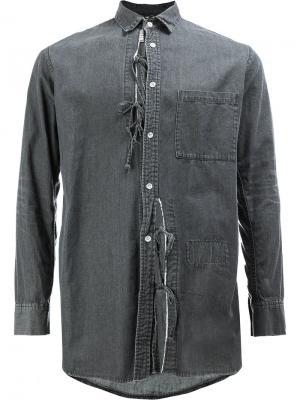 Джинсовая рубашка со шнуровкой Maison Mihara Yasuhiro. Цвет: серый