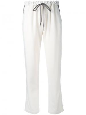 Зауженные брюки на завязках Eleventy. Цвет: белый