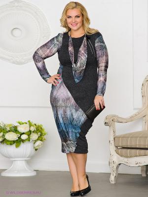 Платье Gemko plus size. Цвет: сиреневый, лазурный, темно-серый