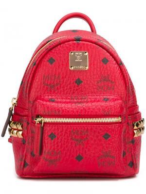 Рюкзак мини с логотипом MCM. Цвет: красный