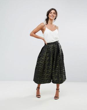 Closet London Плиссированная юбка с камуфляжным принтом. Цвет: зеленый