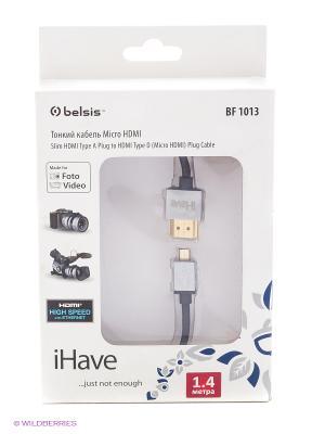 Кабель HDMI A вилка - D (micro HDMI) вилка, супертонкий, High Speed W/E, 1.4 м. iHave. Цвет: черный
