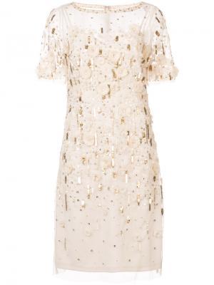 Платье с декором из пайеток и цветов Aidan Mattox. Цвет: телесный