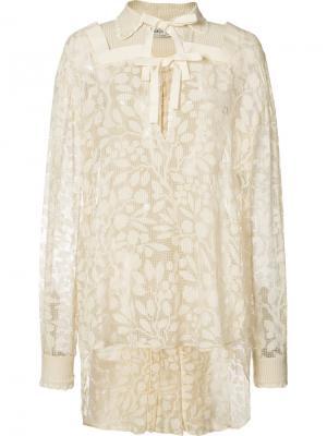 Кружевная блузка с удлиненным подолом Veronique Branquinho. Цвет: белый