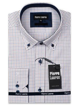 Рубашка Pierre Lauren. Цвет: синий, коричневый