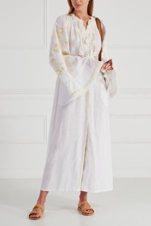 Льняное платье Kilim Vita Kin. Цвет: молочный