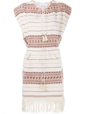 Платье с бахромой на подоле Zimmermann. Цвет: телесный
