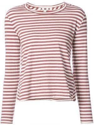 Полосатая футболка Amo. Цвет: красный