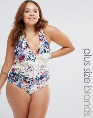 Robyn Lawley Слитный купальник с декольте и цветочным принтом. Цвет: мульти