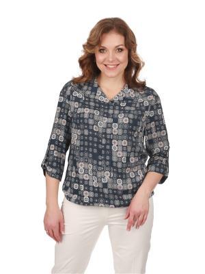 Блузка BLAUZ. Цвет: темно-синий, серый, темно-бежевый