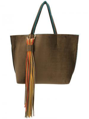 Большая сумка-тоут с кисточками Alila. Цвет: коричневый