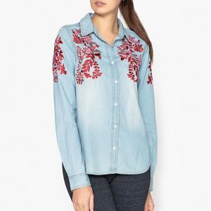 Рубашка с вышивкой ODELA ESSENTIEL ANTWERP. Цвет: темно-синий