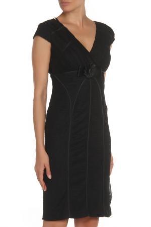 Платье с короткими рукавами, V-образный вырез GOLD. Цвет: черный